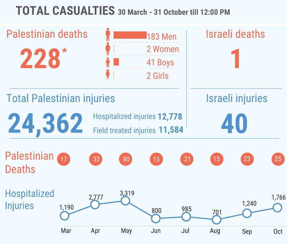 *This figure includes 171 Palestinians killed during the «Great March of Return» demonstrations and other activities and 57 killed in other circumstances; among the latter are ten people whose bodies are reportedly being withheld by the Israeli authorities.