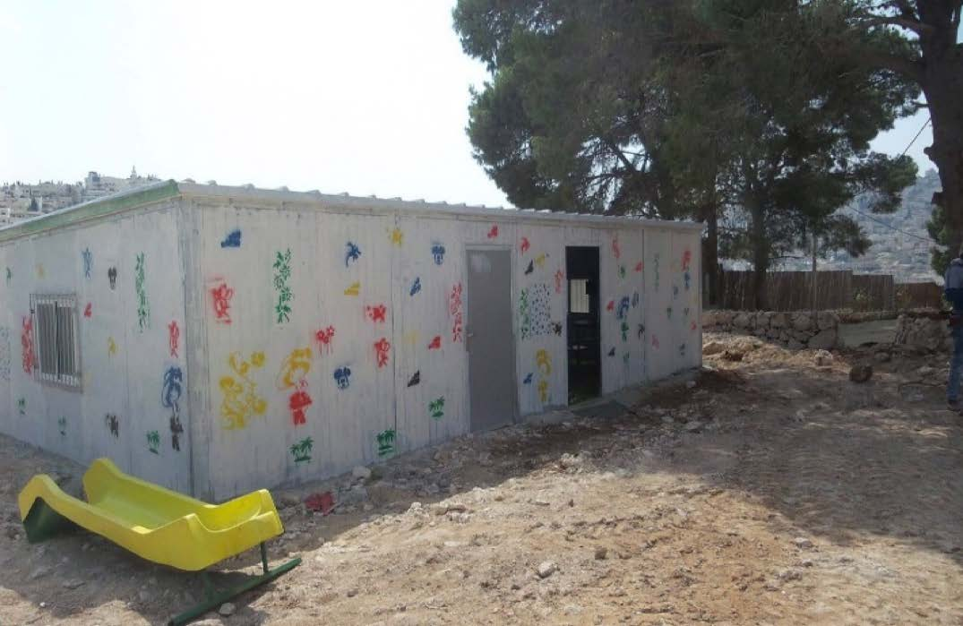 A donor-funded multi-purpose caravan in Jabal al Baba (Jerusalem) that was dismantled by residents on 23 April due to lack of permit. Photo by OCHA.
