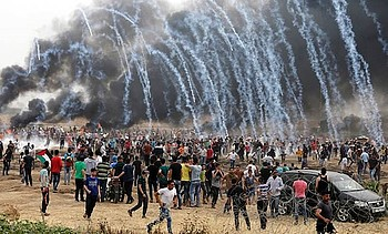 Demonstration at the fence Gaza, March 2019.