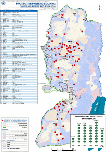 Map: Protective presence during olive harvest season 2014 (October 2014)