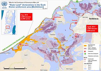"Map: ""State land"" declarations in the Gush Etzion settlemennt area (Bethlehem)"