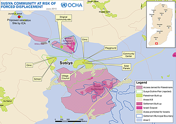 Map: Susiya community at risk of forced displacement, June 2015