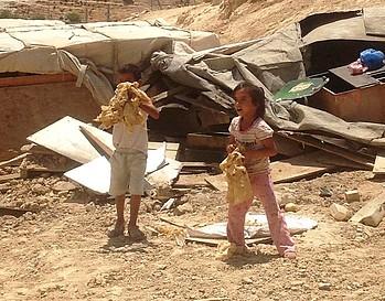 Demolition in Wadi Sneysel 17 August 2015. Photo by OCHA