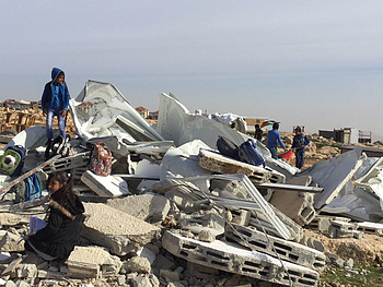 A school provided as a humanitarian assistance demolished on grounds of lack of permit in the Bedouin community of Abu Nuwar in Jerusalem. 4 Feb 2018. © Photo by OCHA