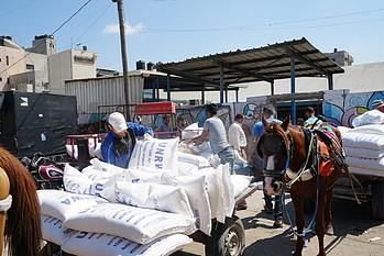 UNRWA food assistance distribution, Gaza. © Photo by OCHA