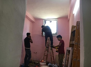 Rehabilitation works at the Khatib family home in Hebron. Photo: GVC