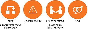 ארבעה תחומי עבודה רוחביים מרכזיים המשולבים בקדימויות האסטרטגיות