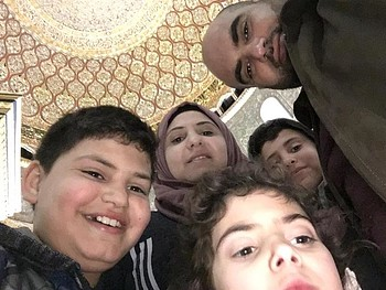 Alaa and Rasha Obeid with their three children, Al 'Isawiya, East Jerusalem, May 2019. Photo contributed by the family