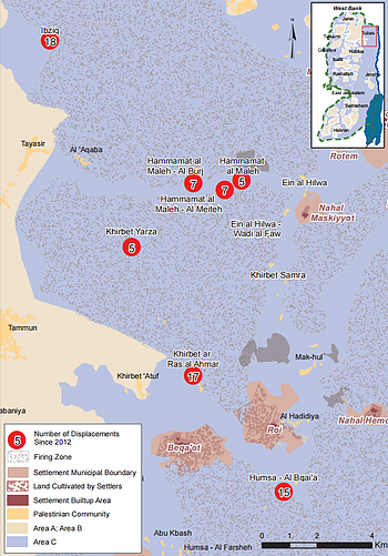 Map: North Jordan Valley: Communities temporarily displaced due to Israeli military training
