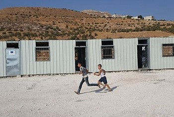 Caravans to be used as a primary school, requisitioned by the Israeli authorities in Jubbet ad Dhib (Bethlehem), August 2017. Photo by Shadia Siliman