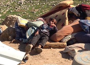 A boy who lost his home in Ein Ar Rashash, 15 February 2016