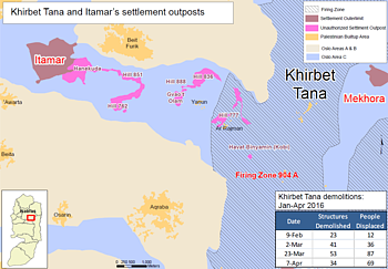 Map: Khirbet Tana and Itamar's settlement outposts