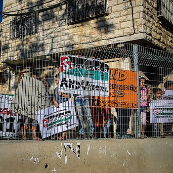 Palestinians from As Salaymeh and Gaith neighborhood protesting in the front of the newly erected fence and gate in the area. 28 August 2017. © Photo by CPT.