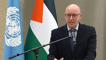 The Humanitarian Coordinator, Mr. Jamie McGoldrick, at the launch of the 2020 Humanitarian Response Plan for the occupied Palestinian territory in Ramallah, 11 December 2019