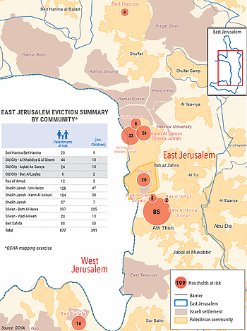 Map: East Jerusalem - Palestinians at risk of eviction