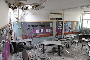 Rocket fired from Gaza hits a kindergarten in the Israeli city of Beer Sheva. ©  Photo by: Avi Ohayon GPO