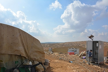 New latrine beside a home in Khirbet ar Ratheem community, connected to water, and serving one family