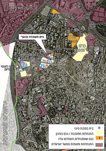 מפה 2 | שייח׳ ג׳ראח: התנחלויות ופלסטינים בסכנת עקירה – 2019