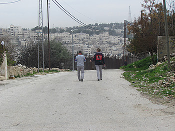 TIPH members patrolling the closed military area of Tel Rumedia, in H2 Hebron, 6 February, 2018. © Photo by OCHA.