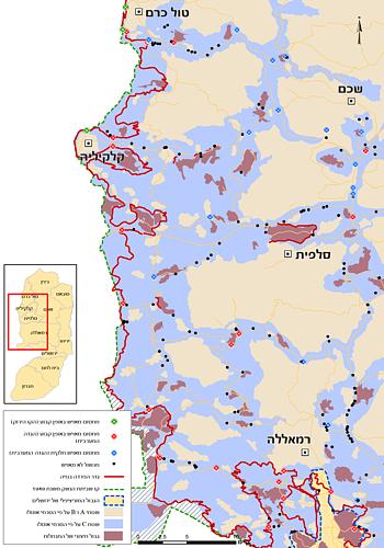מפה: מכשולים במרכז הגדה המערבית ובצפונה