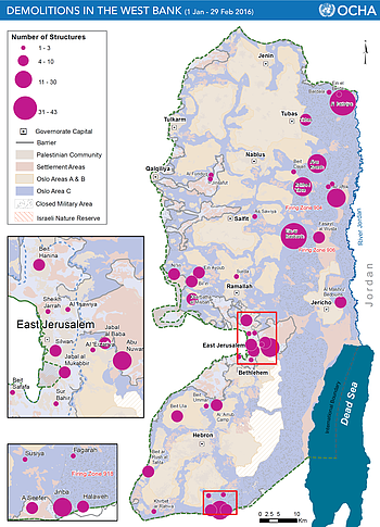 Map: demolitions in the West Bank