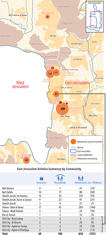 Map: East Jerusalem - Palestinians at risk of eviction
