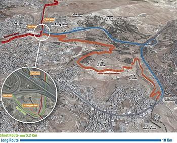 Map - Routes for Entering Az Za'ayyem from Jerusalem