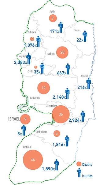 Map: West Bank casualties