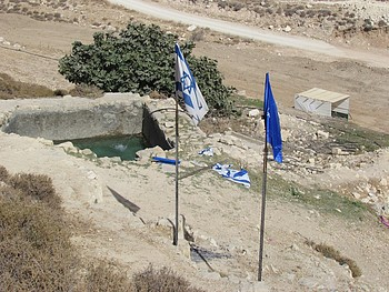 'Ein Fera'a pool: Tent and flag erected by settlers for the Jewish festival of Sukkot, October 2016.