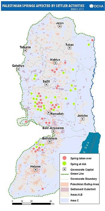 מפה: מעיינות פלסטיניים הנפגעים מפעילות מתנחלים