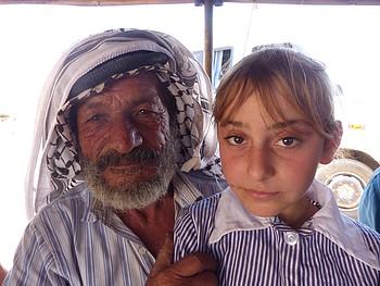 Abdul Rahim Bisharat and his daughter , al Hadidiya, Jordan Valley, May 2017. ©  Photo by OCHA.