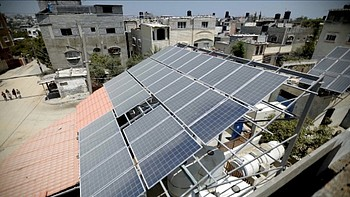 Solar panels at Al Amal desalination plant in Gaza, 31 July 2019. ©  Photo by Oxfam