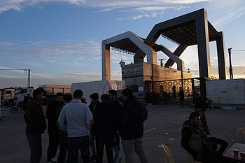 Rafah Crossing: A group of  youths in a sit-in in front of Rafah crossing,  calling for their right to travel.  11 December 2017. © Photo by OCHA