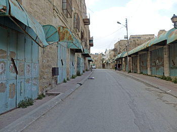 Al Shuhada Street, Hebron city, March 2017. ©  Photo by OCHA.