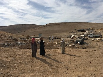 Women in Tell al Himma 15 days after demolition took place. Photo by OCHA