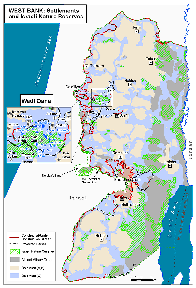 Map: West Bank: Settlements and Israeli nature reserves