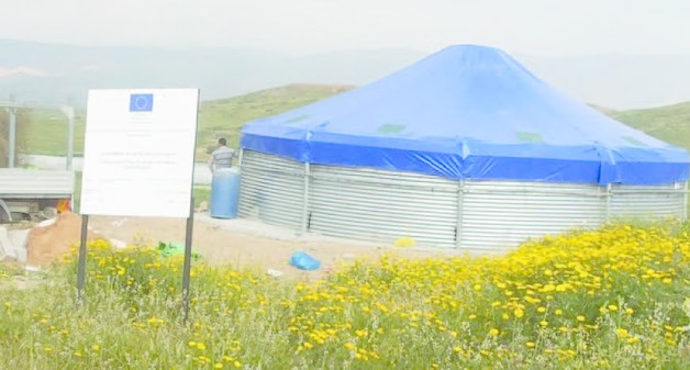 EU-funded water reservoir in Al Farisiya (Tubas), prior to its demolition on 4 July.