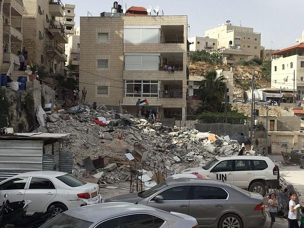 מבנה בן שלוש קומות שנהרס באל־עיסאוויה, ירושלים המזרחית, 1 במאי 2018 / © צילום: משרד האו״ם לתיאום עניינים הומניטריים