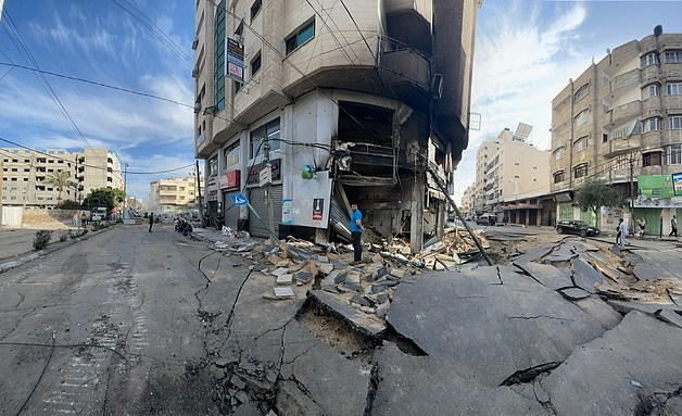 Destruction in Gaza following Israeli airstrike 15 May 2021
