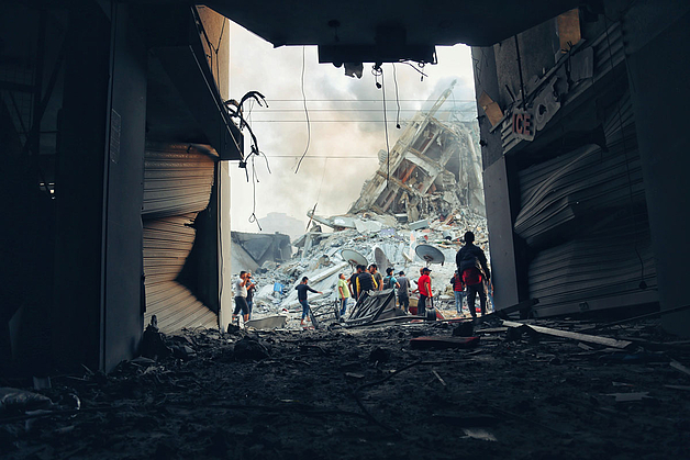 Destruction in Gaza following Israeli strike May 2021 © Photo by Mohammad Libed