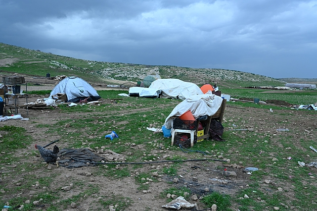 Remaining belongings in Humsa al Bqai'a on 4 February 2021, after this week's demolitions and confiscations, along with a camping tent used by some of those displaced.