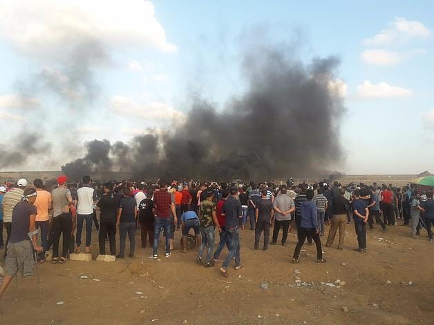 הפגנה ממזרח לעיר עזה, 28 בספטמבר 2018. צילום: אחמד אל־פיומי