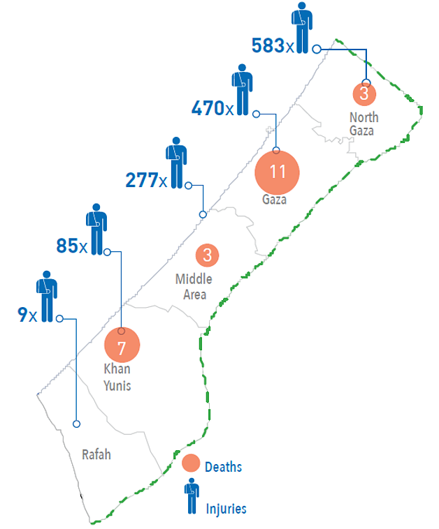 Map: casualties in Gaza