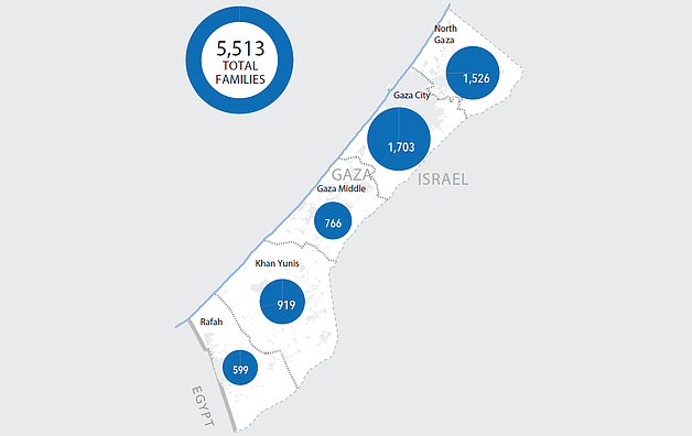 Map: families still displaced by geographical distribution