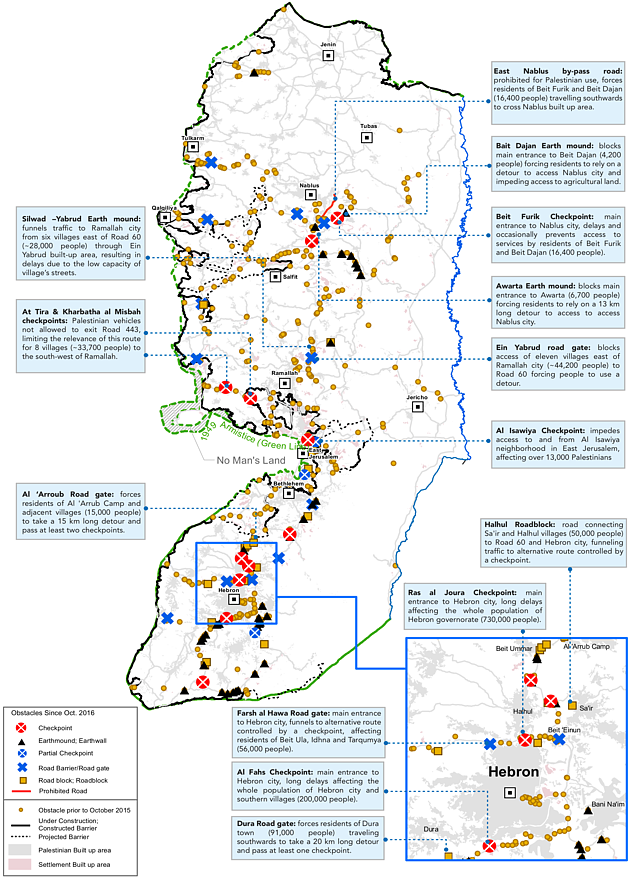 Map: Movement obstacles as of 31 December 2015 selected impacts