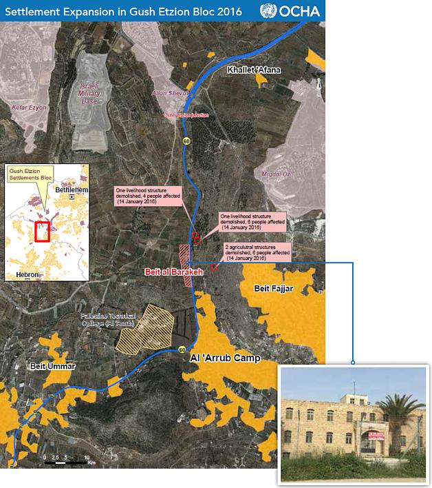 Map: Settlement expansion in Gush Etzion Bloc 2016