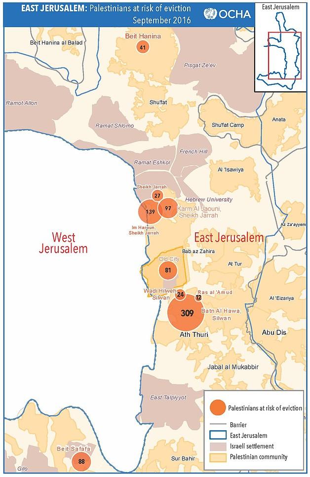 מפת ירושלים המזרחית: פלסטינם בסכנת פינוי, ספטמבר 2016