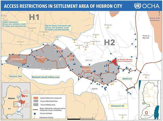 מפה: הגבלות גישה באזור ההתנחלויות בעיר חברון