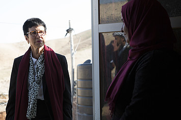 United Nations Assistant Secretary-General for Humanitarian Affairs and Deputy Emergency Relief Coordinator, Ursula Mueller, in the Palestinian Bedouin community of Sateh al Bahr, in the central West Bank, 14 January 2020. Photo by Ahed Izhiman
