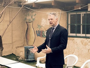 Director of UNRWA Operations in the West Bank, Scott Anderson, in Khan al Ahmar, 22 February 2017